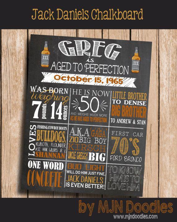 40th Birthday Decorations, 40th Birthday Chalkboard, Jack Daniels Birthday Theme, Whiskey Party, Cocktail Party, Birthday Sign, Centerpiece