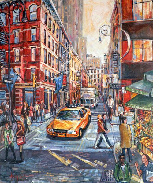 Watercolor New York: Oil Painting Of Soho, New York City