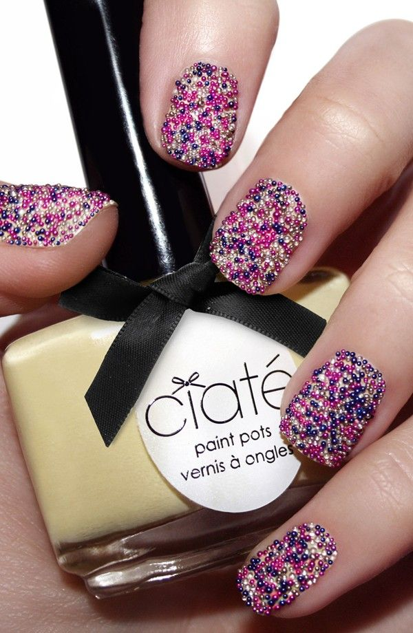 the ciate beads are pretty expensive you can also get the same beads by essence for ALOT less. just paint a baby pink or cream polish first wait for it to dry then apply topcoat dip nail in beads then apply a topcoat over the beads again (if you want it thicker apply more topcoat and dip again)