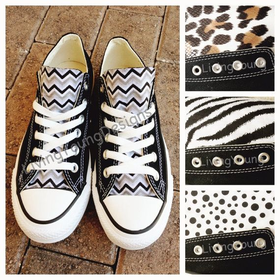 Custom Black Converse Chevron, Leopard, Zebra and Polka Dots... I want the leopard ones!!!