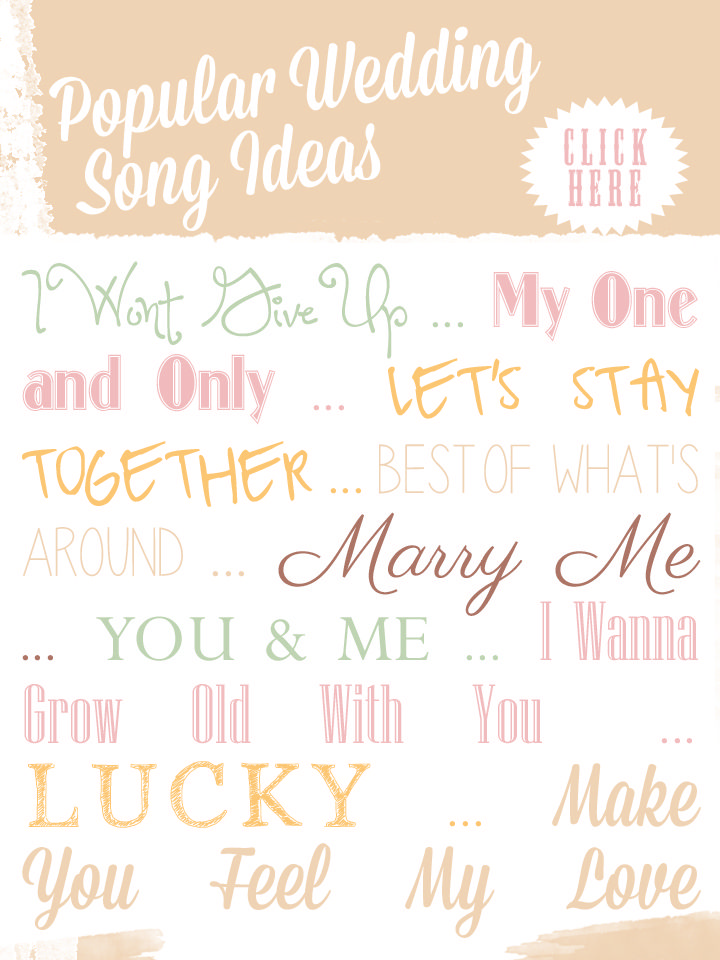 List of some of the MOST POPULAR Wedding Songs from  2014 Preserve a favorite wedding photograph, your vows, or your favorite song lyrics on canvas. The first dance at your wedding is a big deal, picking a song that reminds each other of your romance is a beautiful way to let your guests know how significant that song meant to you.
