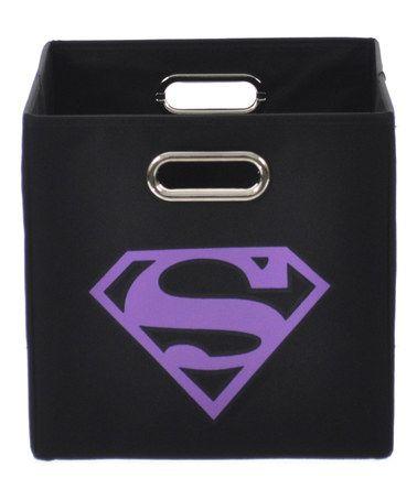 Loving this Superman Black & Purple Logo Folding Storage Bin on #zulily! #zulilyfinds