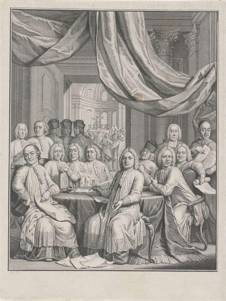 Jacob Folkema | Gezelschap van geestelijken rond een tafel, Jacob Folkema, 1735 - 1767 | Rond een tafel zitten en staan geestelijken onder een baldakijn. Enkelen dragen een kalot of biretta op het hoofd en zijn gehuld in hermelijnen mantels. Op de achtergrond is door een deur zicht op een kerkinterieur.
