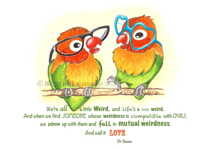 Crazy Lovebirds. Available as an original, prints or greeting cards (with or without text).