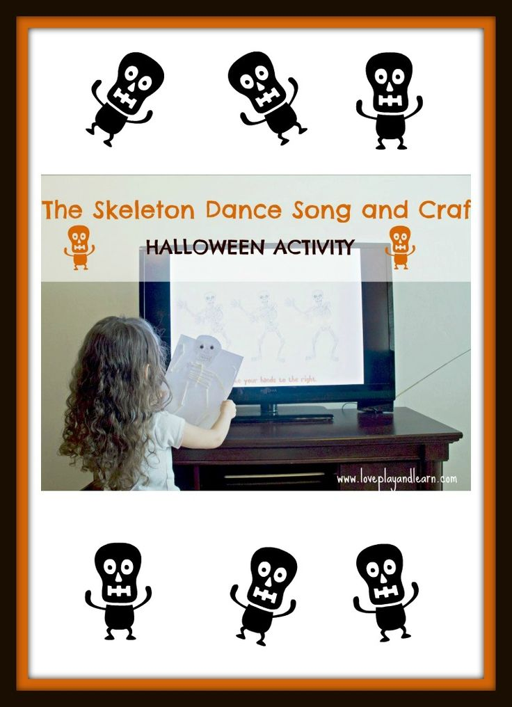 cute skeleton craft and the skeleton dance song - Halloween Dance Song