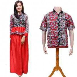 Batik Couple Gamis Merah