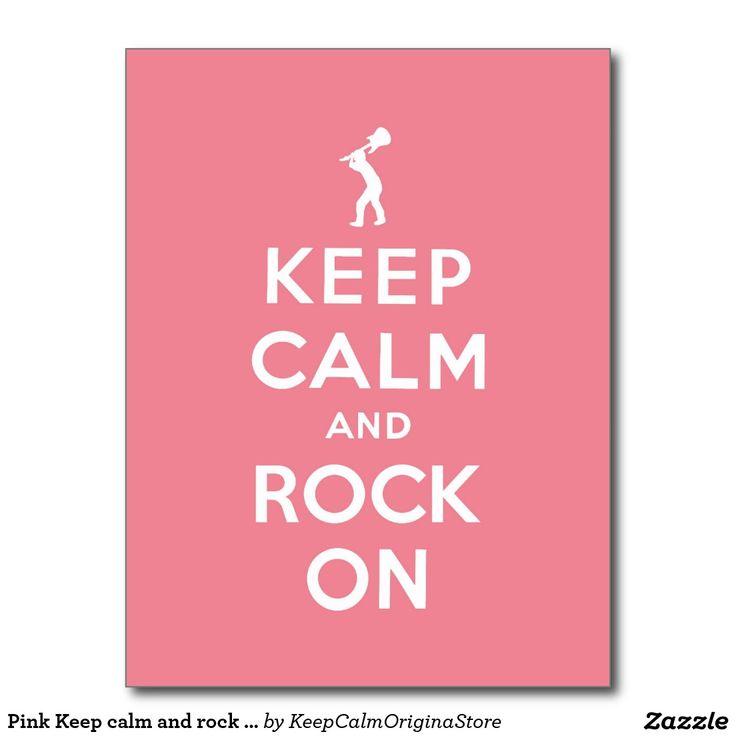 Pink Keep calm and rock on Postcard #keepcalm #rock #pink #parody #rocknroll #keepcalmandrockon #guitar #keepcalmandcarryon