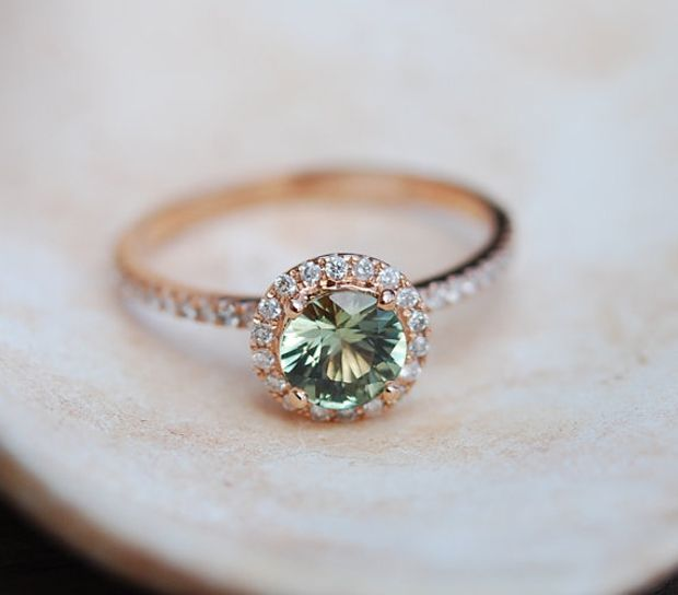 1ct Sparkling Green Tea sapphire ring 14k white gold engagement ring
