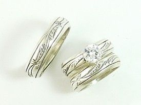 Sterling Silver Wedding Ring Set With Cz Womens Mens Custom Order
