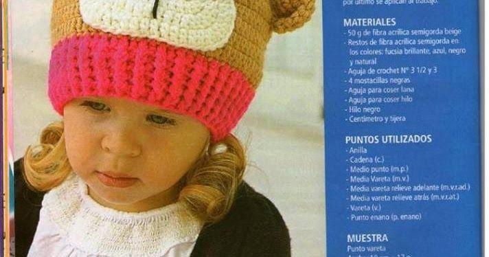PATRONES GRATIS DE CROCHET  Patron gratis crochet de un lindo gorro de oso para  niños 3567d47c169
