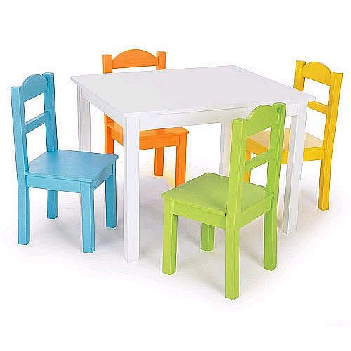 Tot Tutors Kidsu0027 Table And 4 Chair Set, Pastel Wood     This White Painted  Wood Table Is Accented With 4 Pastel Child Size Chairs. Ideal For Lunch For  Four, ...