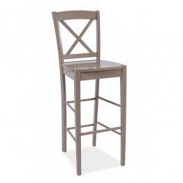 Барный стул из дерева,  серо-коричневый - NILS B