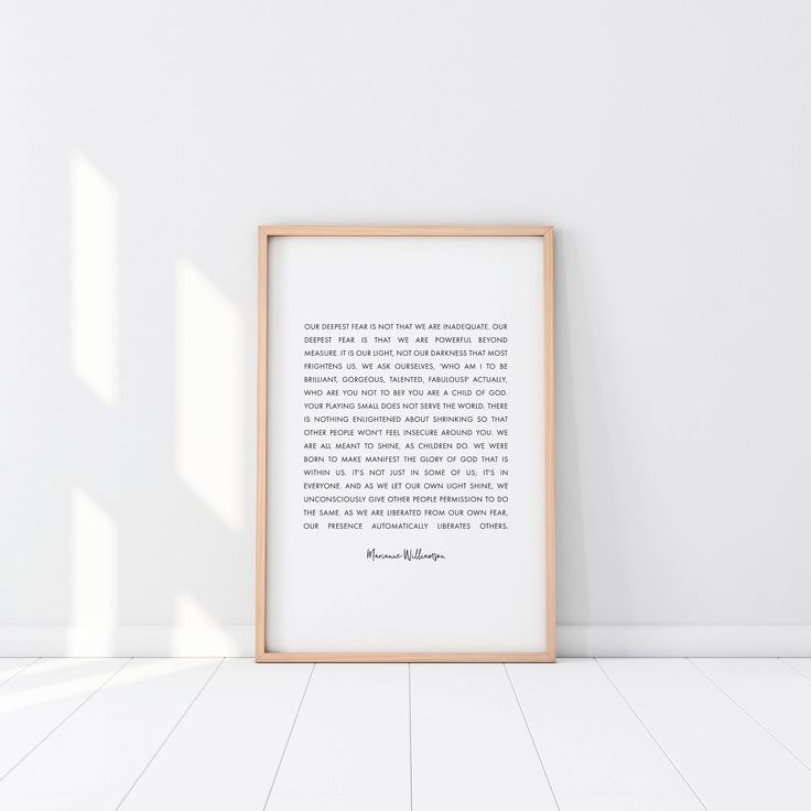 Our Deepest Fear, Marianne Williamson, Printable, Wall Art, Digital Download, Monochrome, Minimalist, Inspirational, Christian, Poster Gift by GraceGradient on Etsy