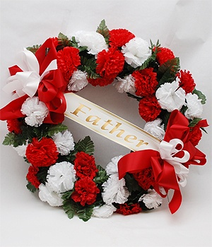 Honor your Father by placing this Cemetery Wreath of Red and White Silk Flowers on a 36 inch easel on the grave site for Fathers Day.