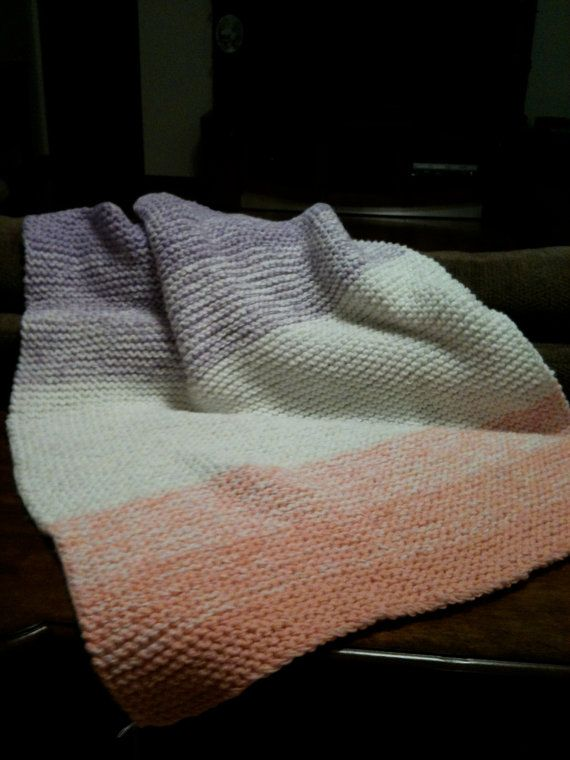 THICK and SOFT Baby Blanket - Knitted - Peach, White and Lilac - Knitting - Afghan