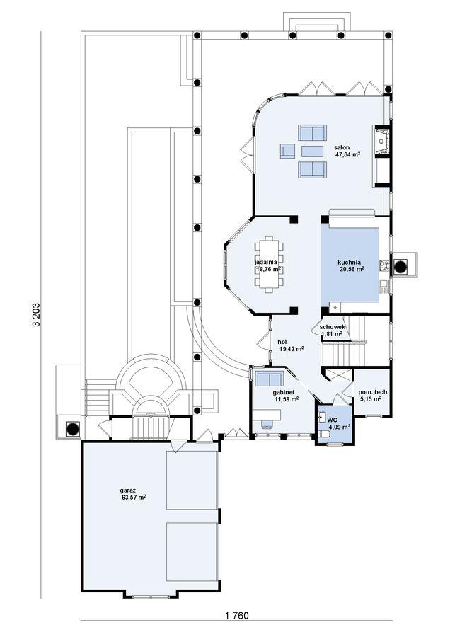Luksusowy projekt domu z dziedzińcem oraz wydzielonym apartamentem.