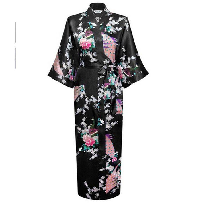 Hot Sale Black Femmes Rayon Robes Gown Kimono Yukata Chinese Women Sexy Lingerie Flower Sleepwear Plus SizeS M L XL XXL XXXL
