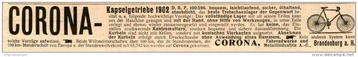 Original-Werbung/Inserat/ Anzeige 1902 - CORONA KAPSELGETRIEBE FÜR FAHRRÄDER ca. 180 X 25 mm