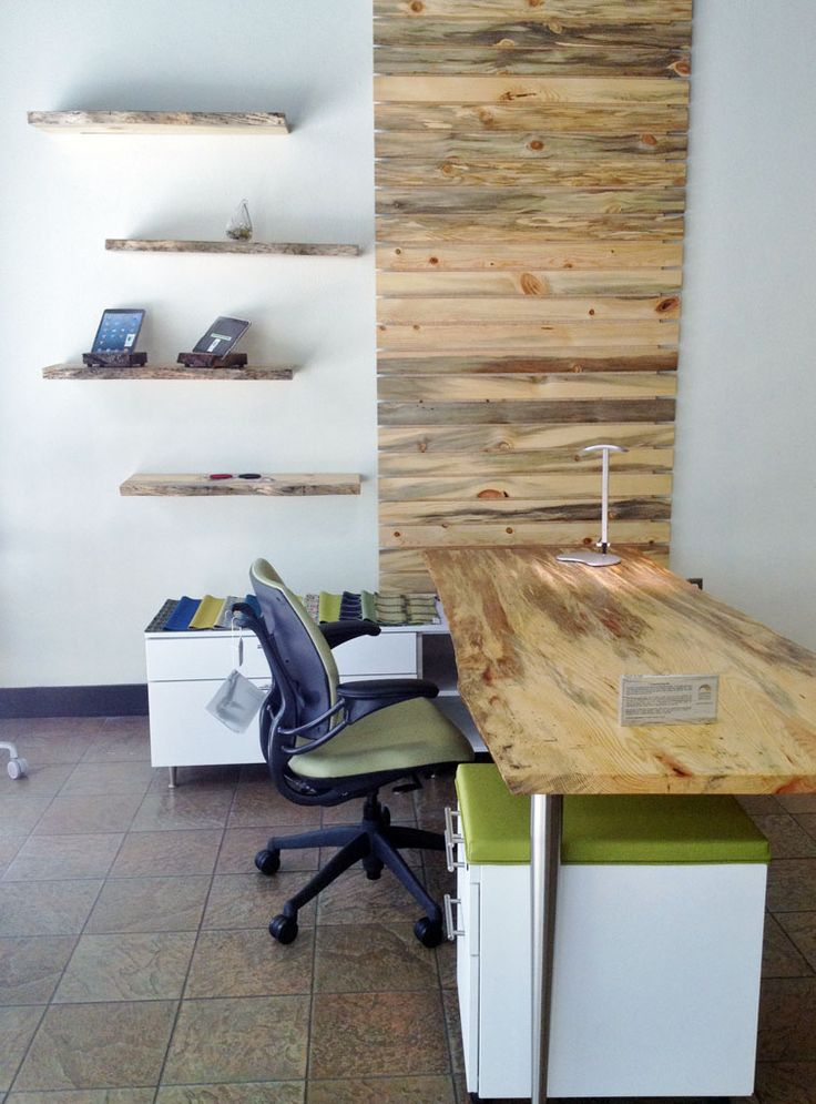 Live Edge Blue Pine Desk And Wall Unit Green Furniture Solutions |  Live Edge Furniture | Pinterest | Green Furniture, Pine Desk And Showroom