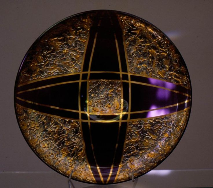 Lubomir Blecha, glass disk, dark violet smoked glass decored by gold in mass, 1956, D: 30,5 cm, executed by Bohumil Blecha glass rafinery in Kamenicky Senov (Steinschoenau), UMPRUM Prague, Czechoslovakia
