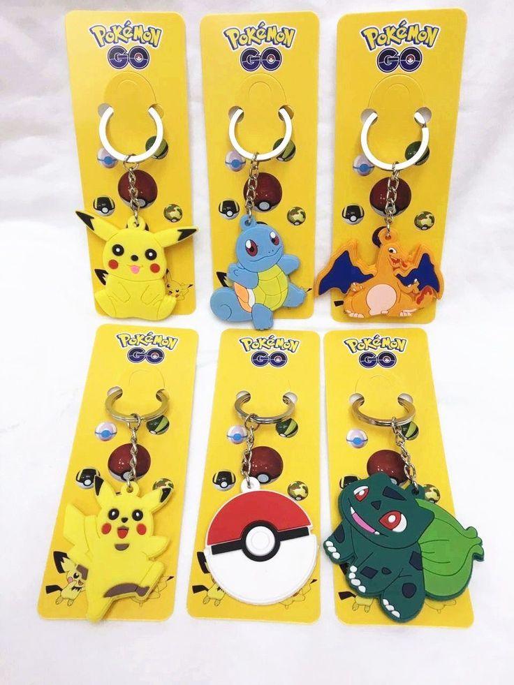 20Pcs Pikachu Pokemon Double Sided Rubber Keychain Anime Metal Key Chains Go-13
