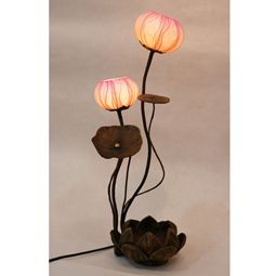 Lady Table Lamp with Two Lotus Flower Buds Mulberry Pink Paper Shades