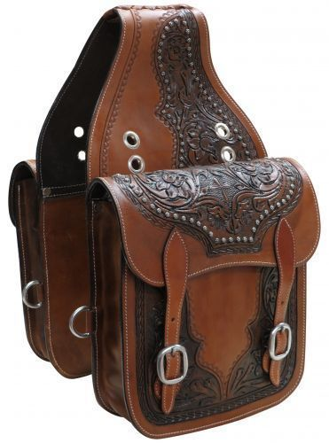 Saddle Bags 47300: Western Horse Saddle Bag Or Motorcycle Features Floral Tooled Leather W Cross -> BUY IT NOW ONLY: $78.95 on eBay!