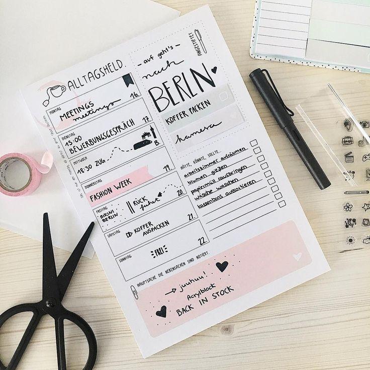 Plane deine ganze Woche auf einer Seite. notes, organizing, planning, pen, scissors, tape, white, pink