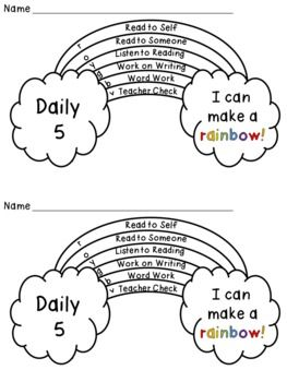 Daily 5 or centers rainbow tracker freebie- kids color in a row for each center/station they complete! FREE