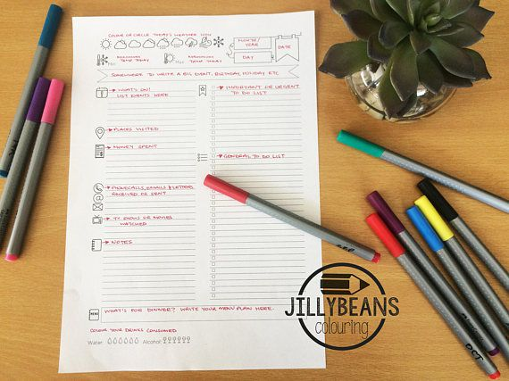 Daily Bullet Journal Diary Planner A4 Printable Template To