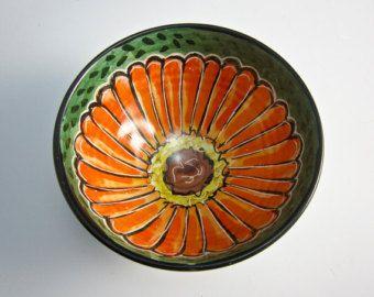 Cereal de cerámica pequeño cuenco - plato de cerámica Bowl - flor de Zinnia naranja - cerámica - cocina preparación - tazón de fuente de mayólica - helado recipiente