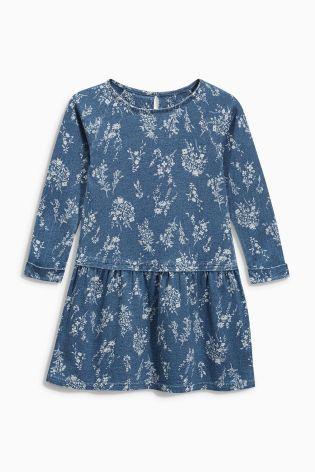 Купить Платье цвета индиго с рисунком и колготки (3 мес.-6 лет) - Покупайте прямо сейчас на сайте Next: Россия