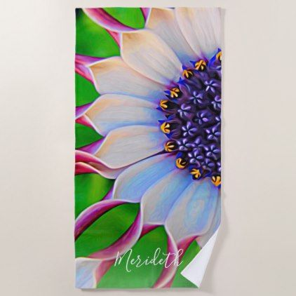 Purple Daisy Floral Trendy Girly Custom Beach Towel - purple floral style gifts flower flowers diy customize unique