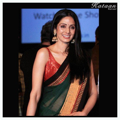 #Sridevi flaunting her simple yet elegant look in a GREEN saree