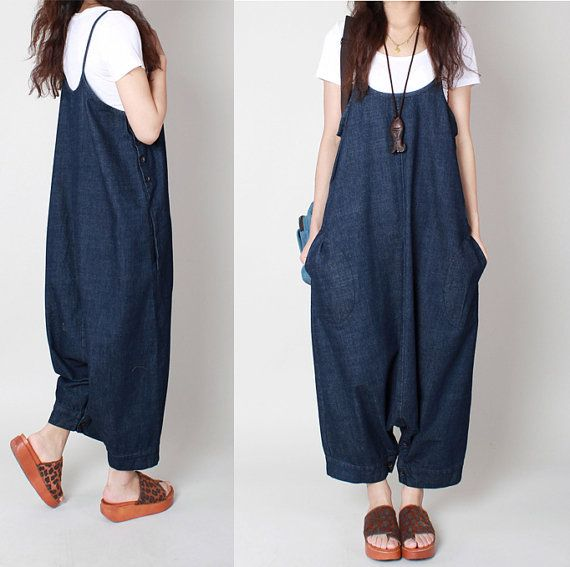 Blue Jumpsuit Suspenders Cowgirls hip-hop Slacks por Jessieclothing