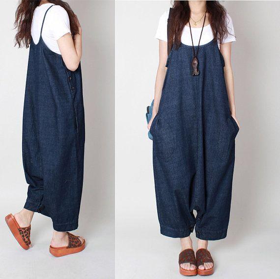 Blue Jumpsuit Suspenders Cowgirls hip-hop Slacks por Jessieclothing
