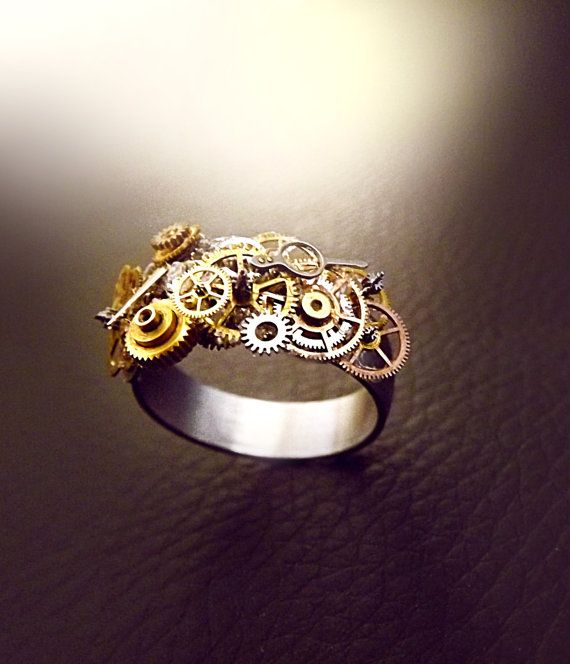 Steampunk ring stainless steel unisex by CindersJewelryDesign