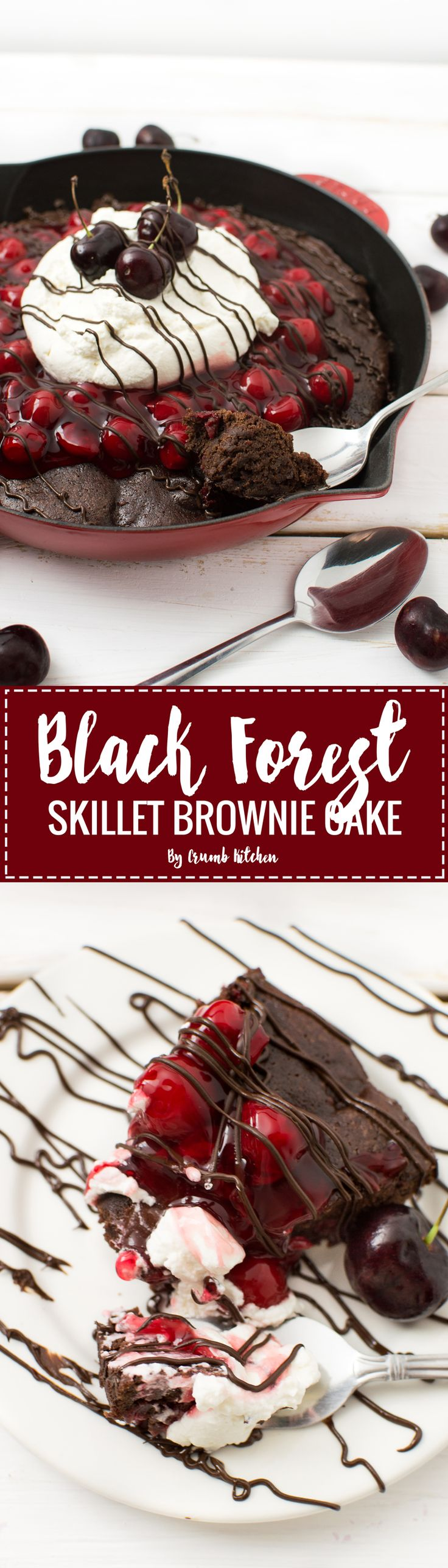 This rich, chocolatey Black Forest Skillet Brownie Cake is loaded with cherry pie filling, homemade whipped cream and a chocolate drizzle. | Crumb Kitchen