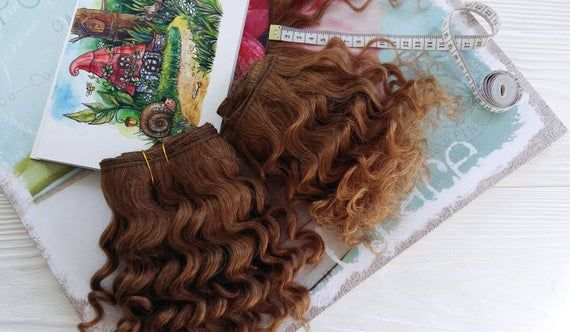 Mohair weft light brown, deep wave, doll hair, wefted mohair