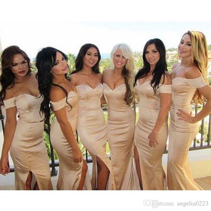 Champagne Elegant Mermaid Bridesmaid Dresses 2016 Off Shoulder Sexy Split Junior Evening Dresses Long Wedding Party Gowns Dusty Pink Bridesmaid Dresses Dusty Rose Bridesmaid Dresses From Angelia0223, $142.02| Dhgate.Com Women, Men and Kids Outfit Ideas on our website at 7ootd.com #ootd #7ootd