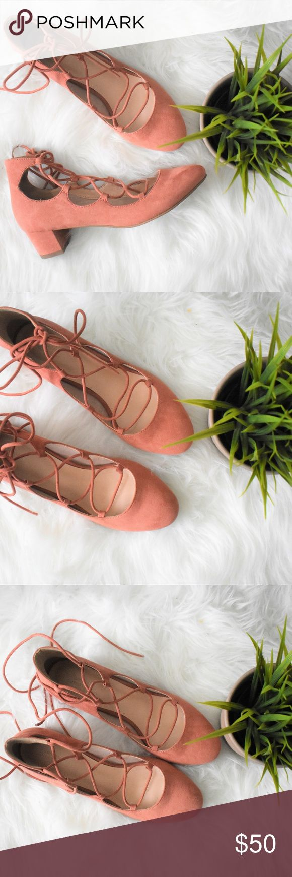 Lace Up Pink Urban Outfitters Heels Gorgeous suede heels with lace up detail in a size 38, equivalent to a US 7.5-8. I would say these fit like a 7.5. Great condition, only worn once or twice! A perfect spring shoe with about a 1 inch heel. Urban Outfitters Shoes Heels