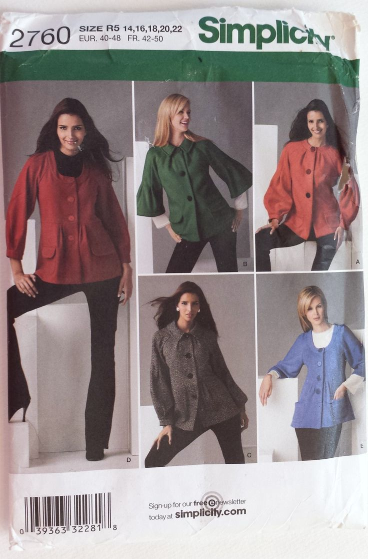 12 best jacket sewing patterns images on pinterest factory simplicity 2760 misses jackets size 1416182022 size 14sewing patternsstitching jeuxipadfo Gallery