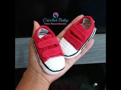 All Star com Velcro em Crochê - Tamanho 09 cm - Crochet Baby Yara Nascimento PARTE 02 - YouTube