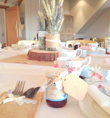 Beautiful handmade table decorations for a rustic wedding