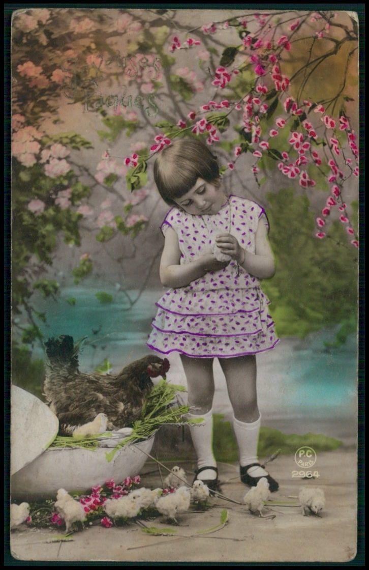 Deco ребенок девочка Пасхальный цыпленок гнездо оригинальный винтажный старый 1920-х годов Фото Открытка | eBay