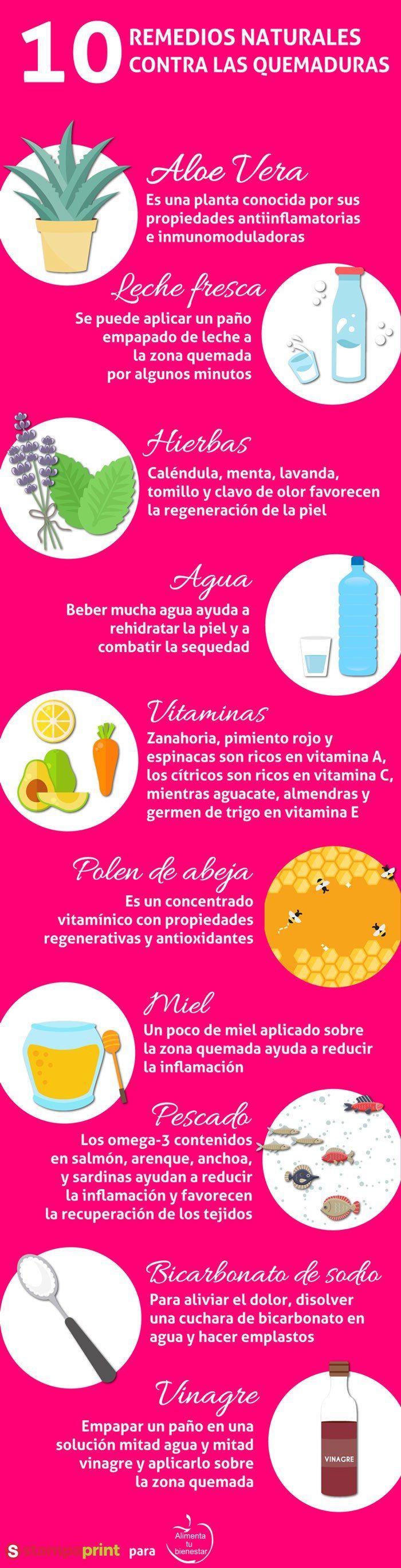 #Infografía10 remedios naturales contra las quemaduras solares #alimentatubienestar