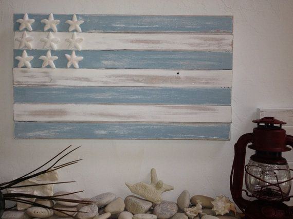 Beach House Coastal cottage distressed nautical wooden starfish flag beach glass blue on Etsy, $45.00