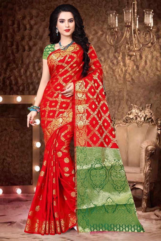 443bbee950bf5 Buy Online Green With Red Color Designer Banarasi silk Saree - Silk Saree -  Sarees