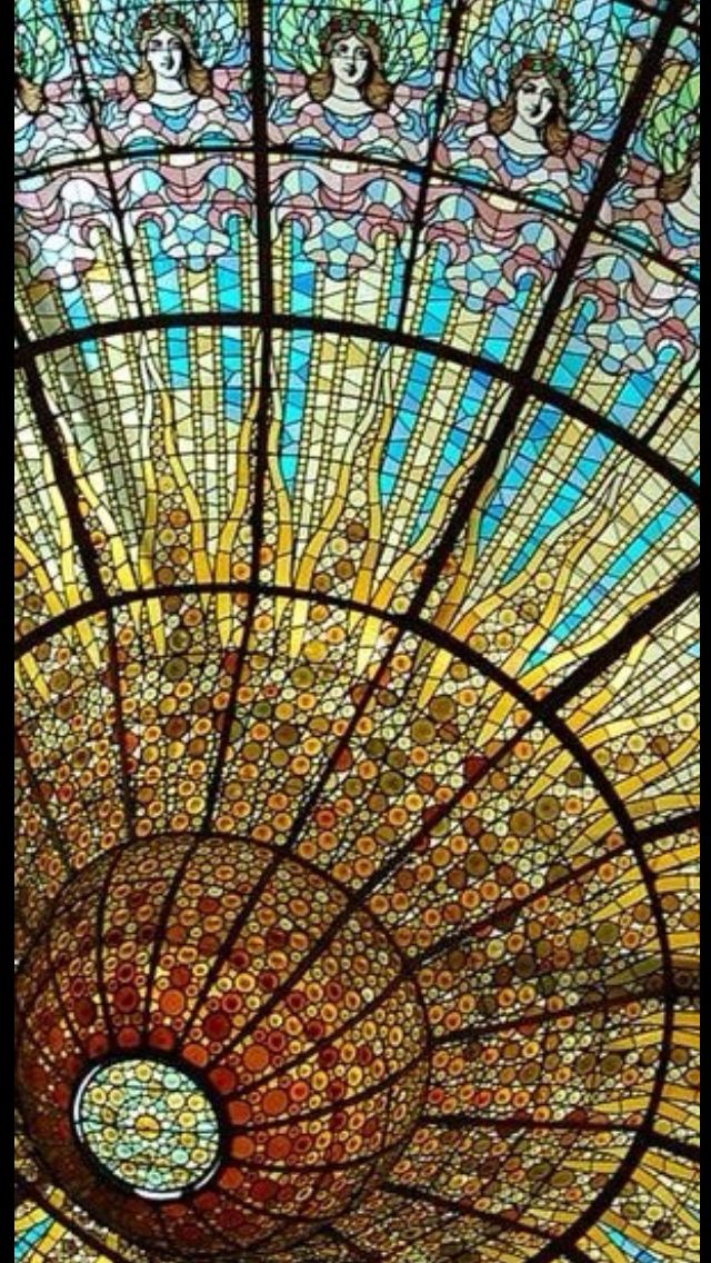 Magnificent Art Nouveau stained glass at the Palau de la Música Catalana, Barcelona Spain