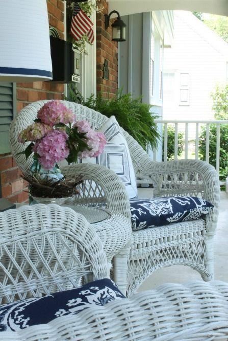 Home Tour White Wicker Sacks And Summer Front Porches